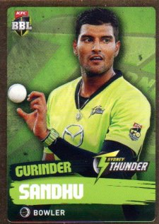 2015/16 CA & BBL Cricket Gold Parallel #PS179 Gurinder Sandhu Thunder