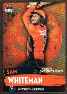 2015/16 CA & BBL Cricket Gold Parallel #PS150 Sam Whiteman Scorchers