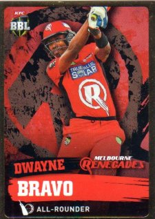 2015/16 CA & BBL Cricket Gold Parallel #PS107 Dwayne Bravo Renegades
