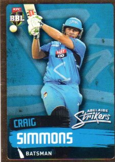 2015/16 CA & BBL Cricket Gold Parallel #PS74 Craig Simmons Strikers