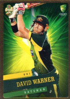 2015/16 CA & BBL Cricket Gold Parallel #PS29 David Warner Australian ODI