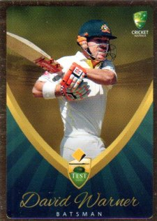 2015/16 CA & BBL Cricket Gold Parallel #PS15 David Warner Australian Test