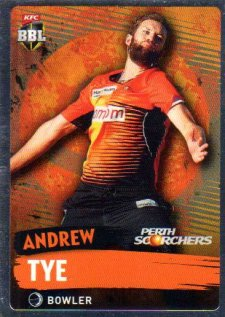2015/16 CA & BBL Cricket Silver Parallel #P148 Andrew Tye Scorchers