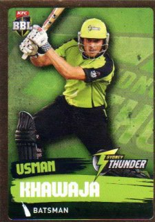 2015/16 CA & BBL Cricket Gold Parallel #PS174 Usman Khawaja Thunder