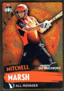 2015/16 CA & BBL Cricket Gold Parallel #PS143 Mitchell Marsh Scorchers