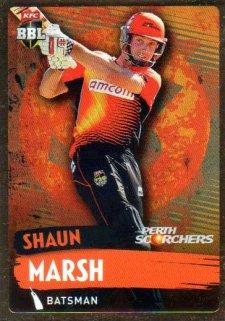 2015/16 CA & BBL Cricket Gold Parallel #PS144 Shaun Marsh Scorchers