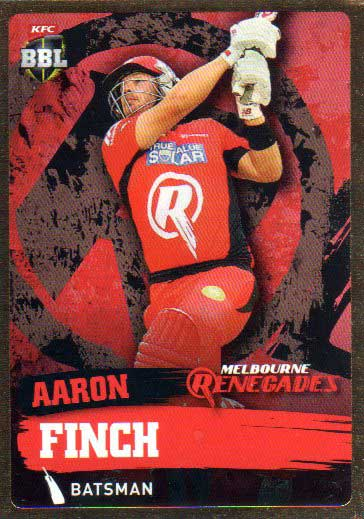 2015/16 CA & BBL Cricket Gold Parallel #PS111 Aaron Finch Renegades
