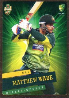 2015/16 CA & BBL Cricket Gold Parallel #PS28 Matthew Wade Australian ODI