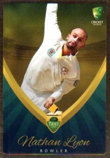 2015/16 CA & BBL Cricket Gold Parallel #PS7 Nathan Lyon Australian Test