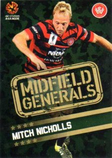 2015/16 FFA & A-League Soccer Midfield Generals #MG-12 Mitch Nichols Western Sydney Wanderers FC