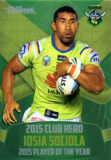 2016 NRL Traders Club Hero #CH3 Iosia Soliola Raiders