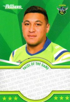 2016 NRL Traders Faces of the Game #FOTG6 Josh Papalii Raiders