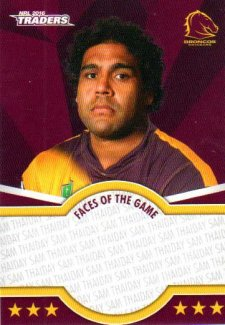 2016 NRL Traders Faces of the Game #FOTG3 Sam Thaiday Broncos