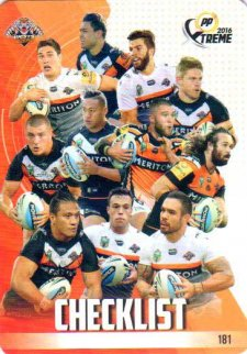2016 NRL Xtreme Powerplay 12-Card Base Team Set Wests Tigers