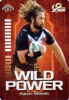 2016 NRL Xtreme Powerplay Wild Power #WP16 Aaron Woods Tigers