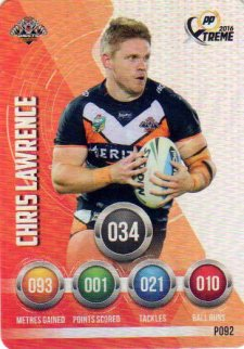 2016 NRL Xtreme Powerplay Parallel #P92 Chris Lawrence Tigers