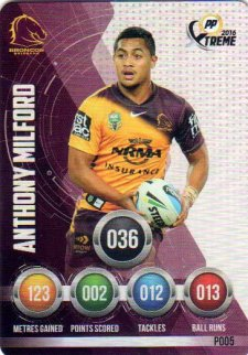 2016 NRL Xtreme Powerplay Parallel #P5 Anthony Milford Broncos