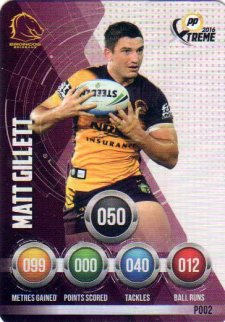 2016 NRL Xtreme Powerplay Parallel #P2 Matt Gillett Broncos