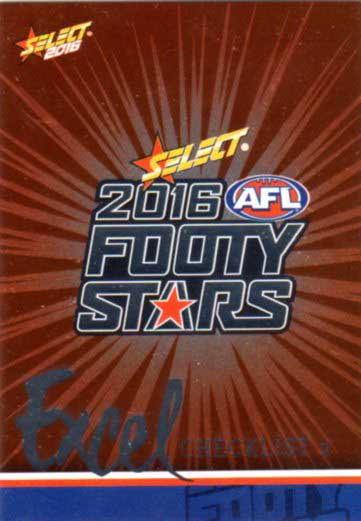 2016 AFL Footy Stars Excel Parallel #EP2 Checklist 2