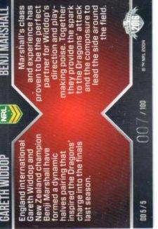 2016 NRL Traders Dynamic Duo #DD5 Gareth Widdop / Benji Marshall Dragons #7/100 *Jersey Numbered*