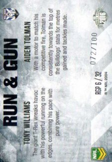2016 NRL Elite Run & Gun Parallel #RGP6 Tony Williams / Aiden Tolman Bulldogs #72/100