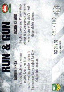 2016 NRL Elite Run & Gun Parallel #RGP24 Aaron Gray / Jason Clark Rabbitohs #51/100