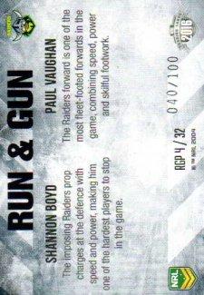 2016 NRL Elite Run & Gun Parallel #RGP4 Shannon Boyd / Paul Vaughn Raiders #40/100