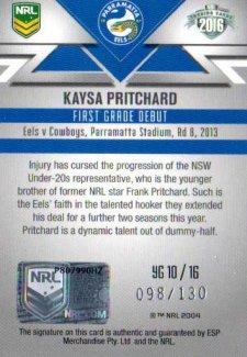 2016 NRL Elite Young Guns Signature #YG10 Kaysa Pritchard Eels #98/130