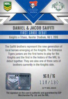 2016 NRL Elite Young Guns Signature #YG8 Daniel / Jacob Saifiti Knights #118/130