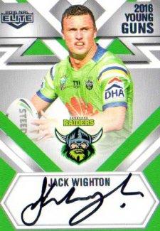 2016 NRL Elite Young Guns Signature #YG2 Jack Wighton Raiders #102/130