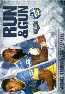 2016 NRL Elite Run & Gun #RG19 Michael Jennings / Semi Radradra Eels