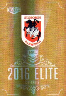 2016 NRL Elite Special Gold #SG145 Checklist Dragons