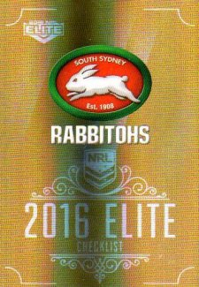 2016 NRL Elite Special Gold #SG133 Checklist Rabbitohs