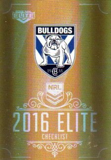 2016 NRL Elite Special Gold #SG25 Checklist Bulldogs