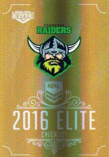 2016 NRL Elite Special Gold #SG13 Checklist Raiders