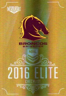 2016 NRL Elite Special Gold #SG1 Checklist Broncos