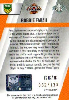 2016 NRL Elite League Sensations Signature #LS16 Robbie Farah Tigers #62/130