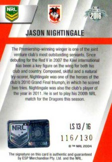 2016 NRL Elite League Sensations Signature #LS13 Jason Nightingale Dragons #116/130