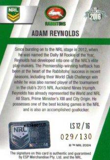 2016 NRL Elite League Sensations Signature #LS12 Adam Reynolds Rabbitohs #29/130
