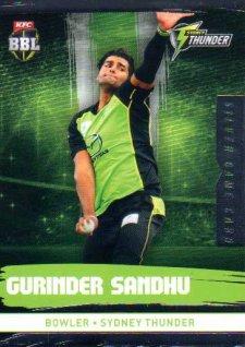 2016/17 CA & BBL Cricket Silver Parallel #195 Gurinder Sandhu Sydney Thunder