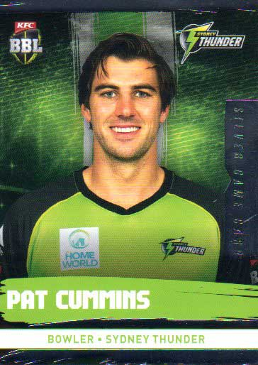 2016/17 CA & BBL Cricket Silver Parallel #186 Pat Cummins Sydney Thunder