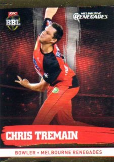 2016/17 CA & BBL Cricket Gold Parallel #126 Chris Tremain Melbourne Renegades