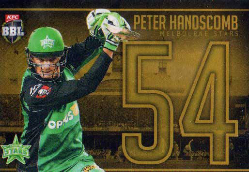 2016/17 Tap N Play CA & BBL Cricket Gold Jersey Numbers JNG-17 Peter Handscomb Stars #4/50