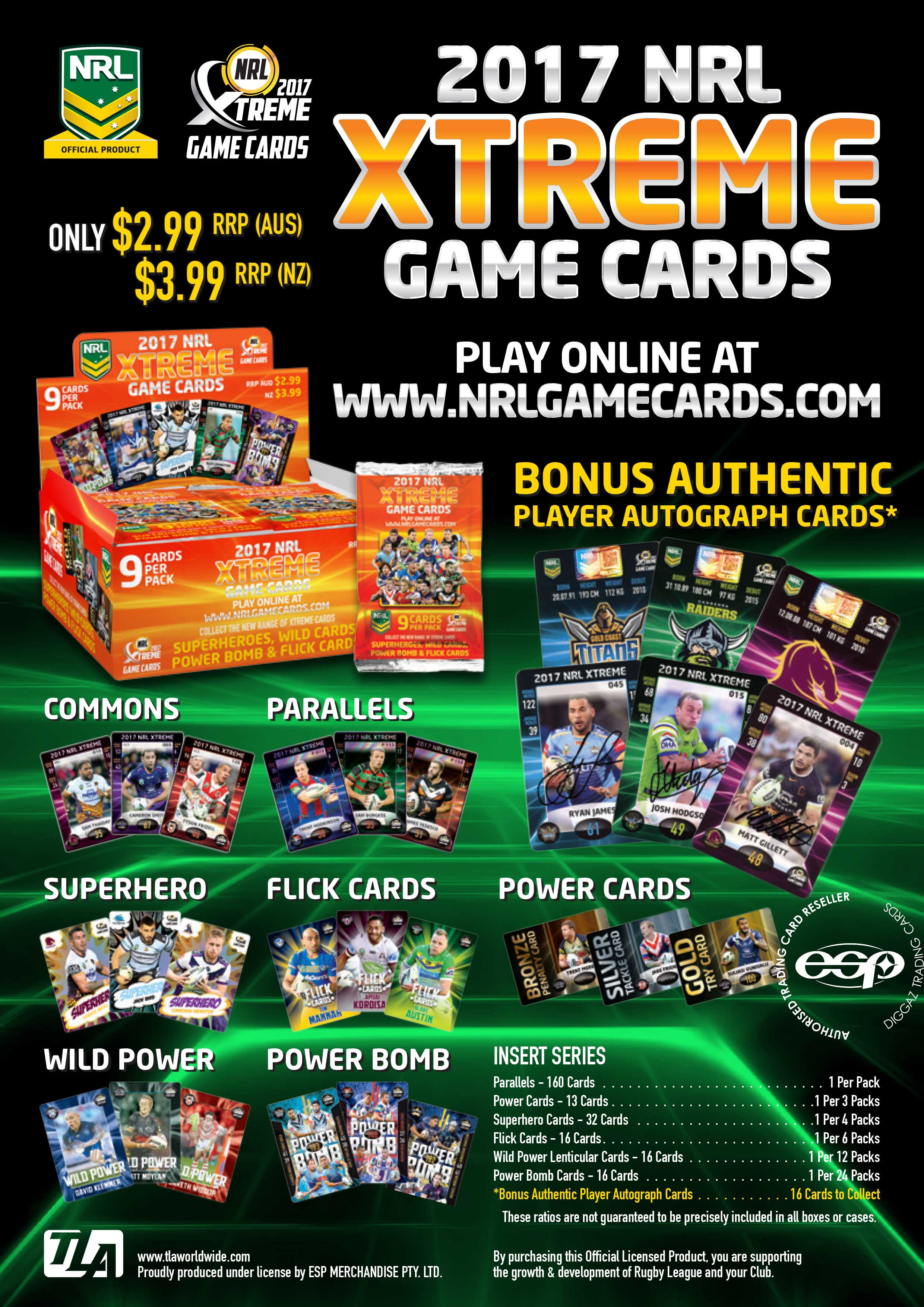 2017 NRL Xtreme Game Cards