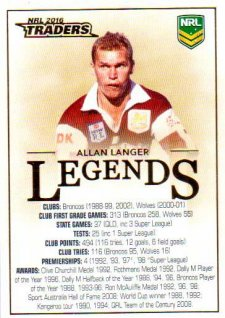 2016 NRL Traders Legends Case Card #CC1 Allan Langer Broncos