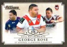 2017 NRL Traders Retirements R13 George Rose Dragons