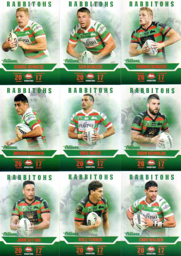 2017 NRL Traders Pearl Special Parallel Team Set South Sydney Rabbitohs
