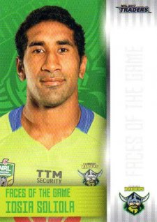 2017 NRL Traders Faces of the Game FG5 Iosia Soliola Raiders