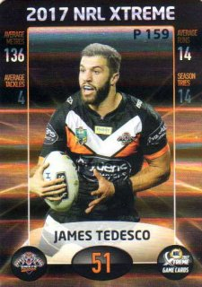 2017 NRL Xtreme Parallel P159 James Tedesco Wests Tigers