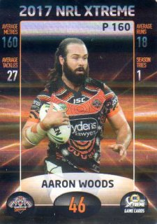 2017 NRL Xtreme Parallel P160 Aaron Woods Wests Tigers